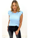 LIGHT BLUE - 'CHANTAL' - RIBBED CUTE RUFFLE TOP