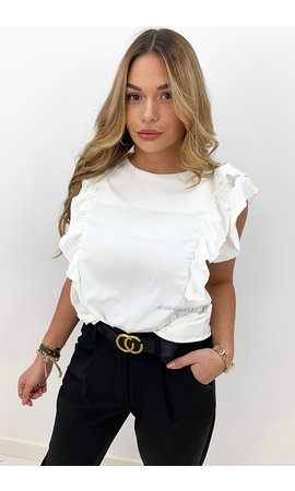 WHITE - 'ANNA' - OPEN BACK RUFFLE TOP