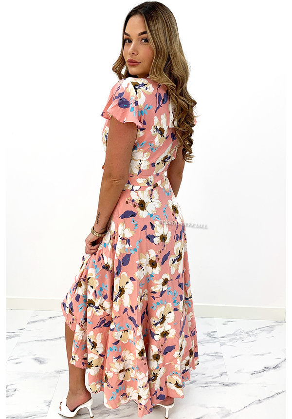 PINK - 'MAIA' - TWO PIECE SET FLORAL WIKKEL TOP + RUFFLE SKIRT