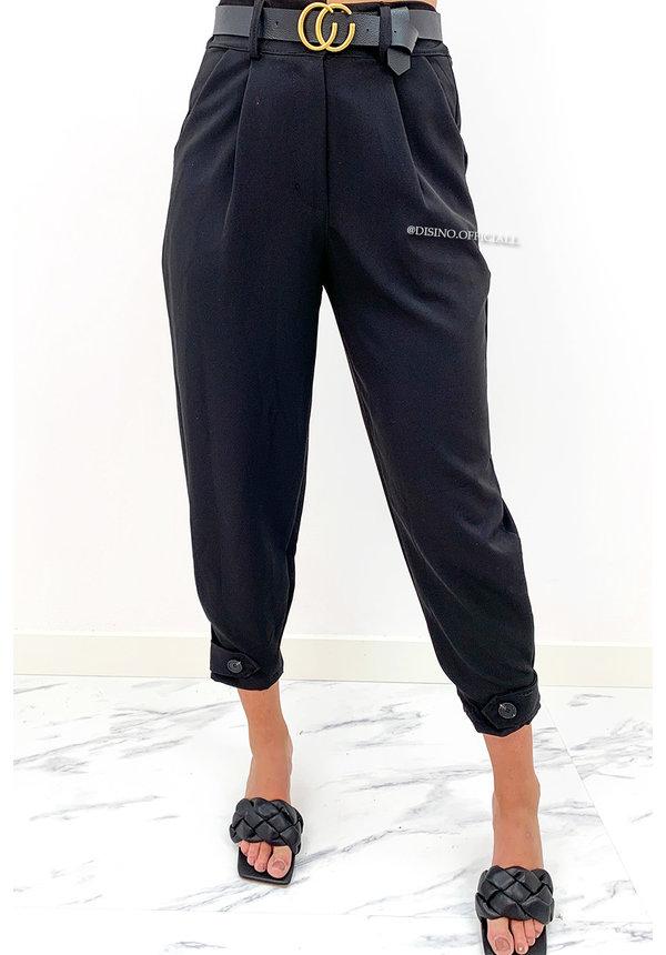 BLACK - 'LUCINDA' - HIGH WAIST PAPER BAG PANTS + BELT