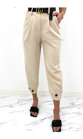 BEIGE - 'LUCINDA' - HIGH WAIST PAPER BAG PANTS + BELT