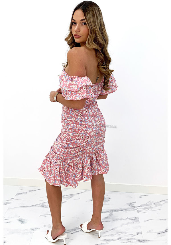 PINK - 'DAISY' - FLORAL OFF SHOULDER RUFFLE DRESS