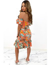 PEACH - 'DAISY' - FLORAL OFF SHOULDER RUFFLE DRESS
