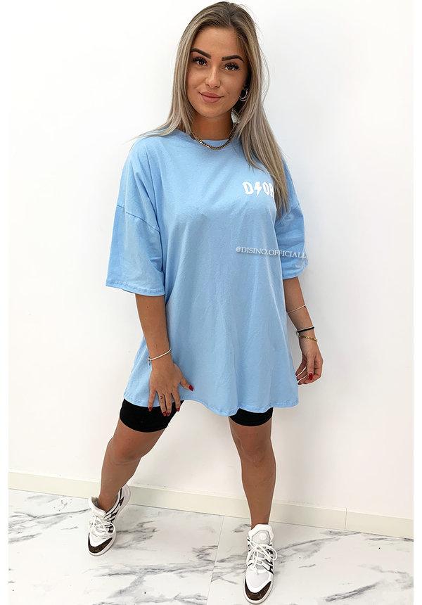 LIGHT BLUE - 'THUNDER DOR' - EXTRA OVERSIZED TSHIRT DRESS