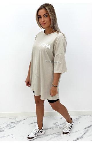 BEIGE - 'THUNDER DOR' - EXTRA OVERSIZED TSHIRT DRESS