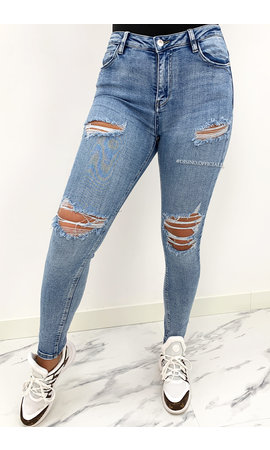 QUEEN HEARTS JEANS - WASHED BLUE - RIPPED SKINNY HIGH WAIST - 869