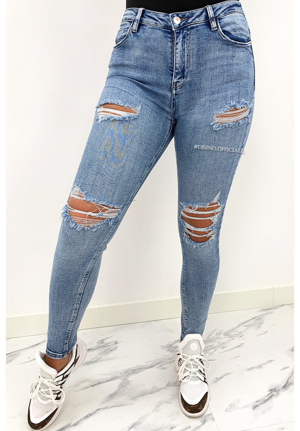QUEEN HEARTS JEANS - WHITE WASH BLUE - HIGH WAIST RIPPED SKINNY JEANS  - 869