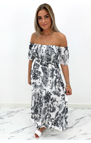 BLACK - 'ALESSANDRA' - PREMIUM QUALITY INSPIRED OFF SHOULDER DRESS