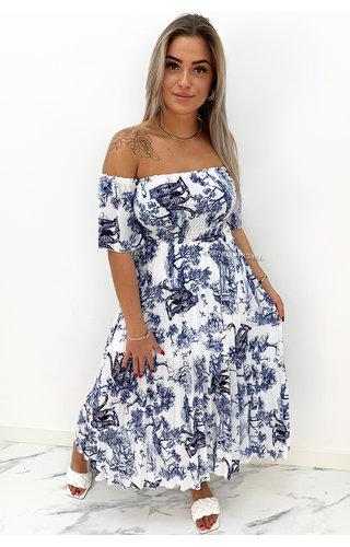 BLUE - 'ALESSANDRA' - PREMIUM QUALITY INSPIRED OFF SHOULDER DRESS