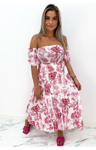 FUCHSIA - 'ALESSANDRA' - PREMIUM QUALITY INSPIRED OFF SHOULDER DRESS