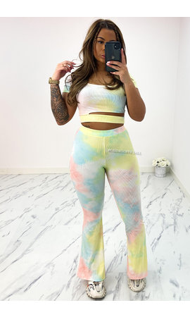 RAINBOW - 'MELANIE' - TYE DYE FLARED TWO PIECE SET