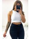 WHITE - 'RACER CROP TOP' - PERFECT FIT CROPPED TOP