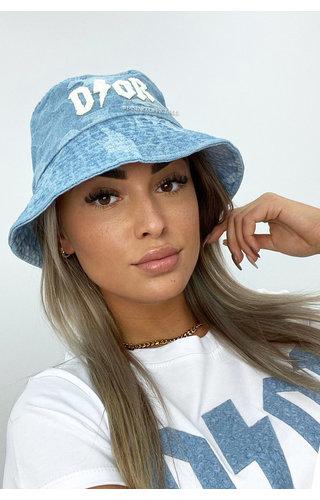 LIGHT BLUE - 'CAMO BUCKLE HAT' - INSPIRED DENIM BUCKLE HAT