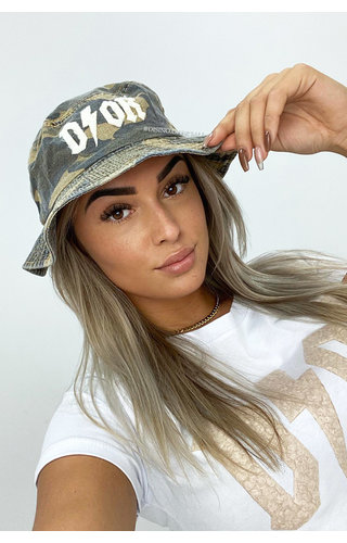 BEIGE - 'CAMO BUCKLE HAT' - INSPIRED DENIM BUCKLE HAT