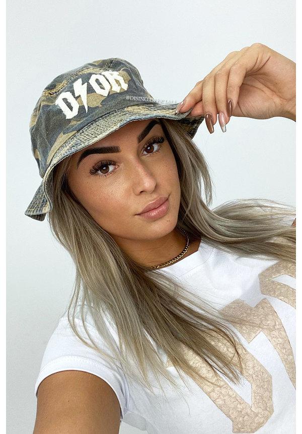 BEIGE - 'CAMO BUCKET HAT' - INSPIRED DENIM BUCKET HAT