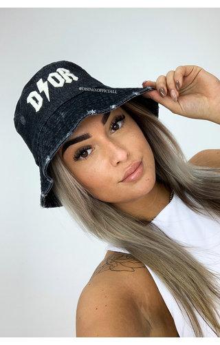 BLACK - 'THUNDER BUCKLE HAT' - INSPIRED DENIM BUCKLE HAT
