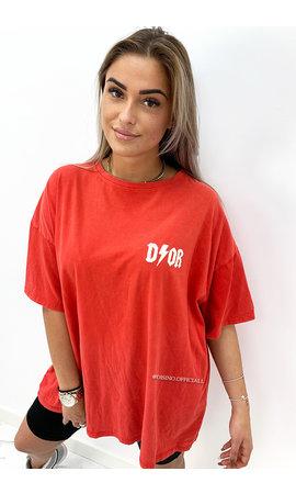 RED - 'COZY THUNDER TEE' - PREMIUM QUALITY OVERSIZED SLOGAN TEE DRESS