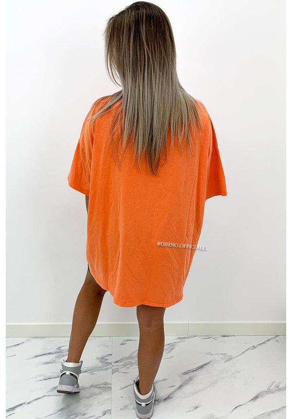 ORANGE - 'COZY THUNDER TEE' - PREMIUM QUALITY OVERSIZED SLOGAN TEE DRESS