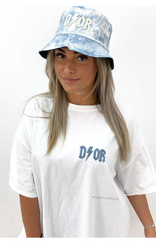 WHITE/BLUE - 'COZY THUNDER TEE' - PREMIUM QUALITY OVERSIZED SLOGAN TEE DRESS