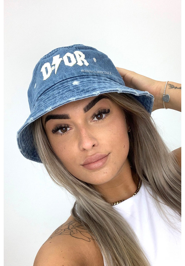 BLUE - 'THUNDER BUCKET HAT' - INSPIRED DENIM BUCKET HAT
