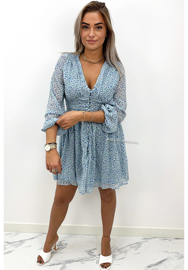 BLUE - 'ALANA' - BUTTON UP DOTTED DRESS