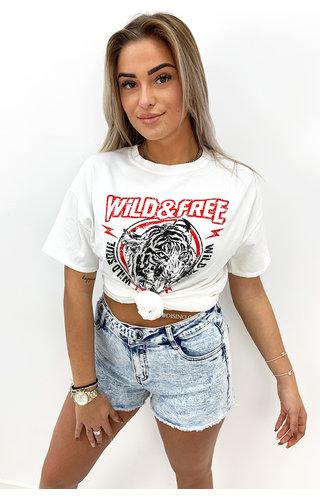 WHITE1 - 'WILD & FREE' - PREMIUM QUALITY OVERSIZED TEE