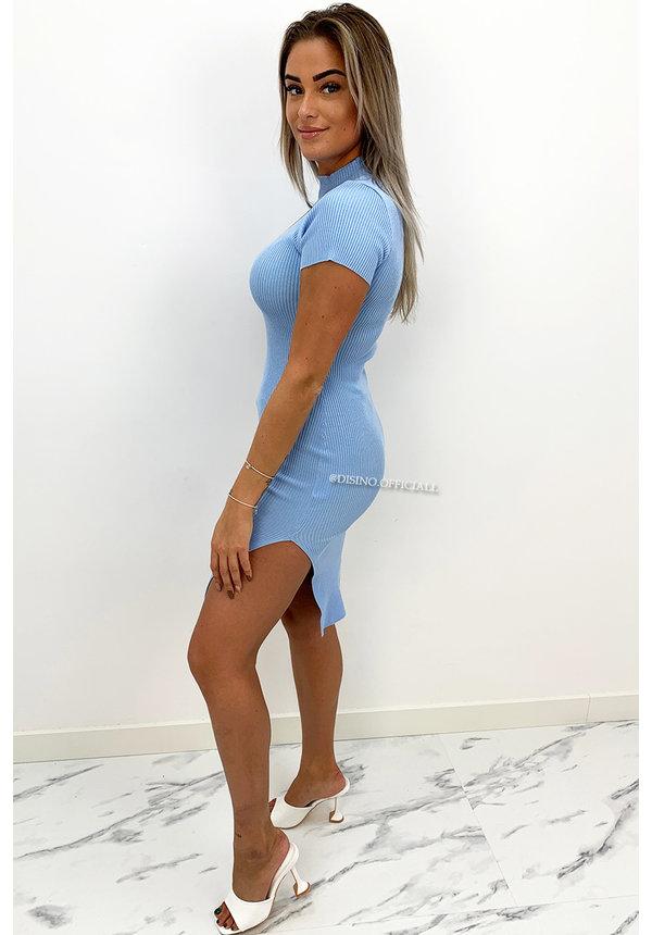 LIGHT BLUE - 'YENNA' - TURTLE NECK RIBBED SPLIT DRESS
