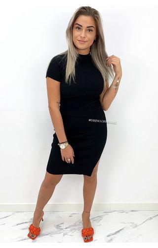 BLACK - 'YENNA' - TURTLE NECK RIBBED SPLIT DRESS