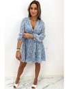 BLUE - 'BRYANNE' - FLORAL BUTTON UP A-LINE DRESS