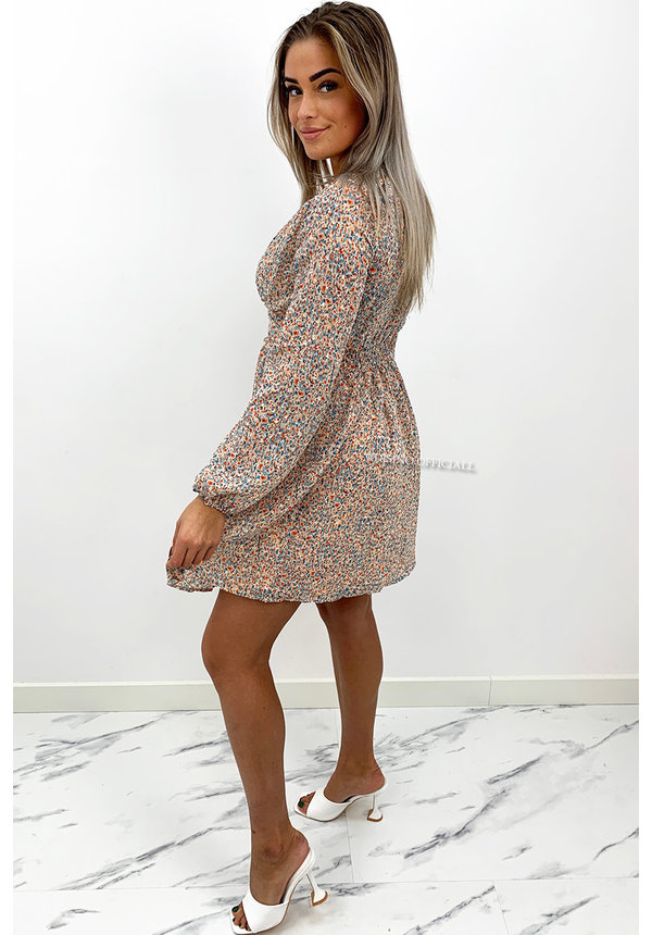 WHITE - 'ALANA' - BUTTON UP DOTTED DRESS