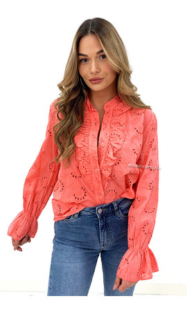 CORAL - 'MANDY' - BRODERIE LACE RUFFLE BLOUSE