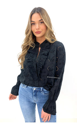 BLACK - 'MANDY' - BRODERIE LACE RUFFLE BLOUSE