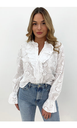 WHITE - 'MANDY' - BRODERIE LACE RUFFLE BLOUSE