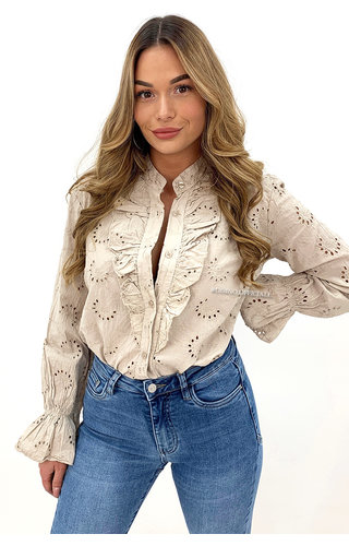 BEIGE - 'MANDY' - BRODERIE LACE RUFFLE BLOUSE