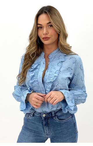 LIGHT BLUE - 'MANDY' - BRODERIE LACE RUFFLE BLOUSE
