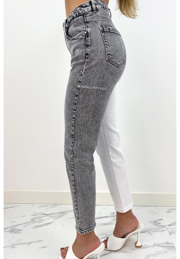 QUEEN HEART JEANS - GREY - TWO TONE JEANS - STRETCH MUM JEANS - 035