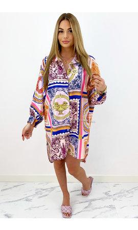 ORANGE - 'TINA' - OVERSIZED INSPIRED CHAIN BLOUSE DRESS