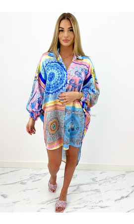 BLUE - 'TINA' - OVERSIZED INSPIRED CHAIN BLOUSE DRESS