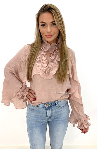 OLD PINK - 'MARIE' - PREMIUM QUALITY RUFFLE BLOUSE