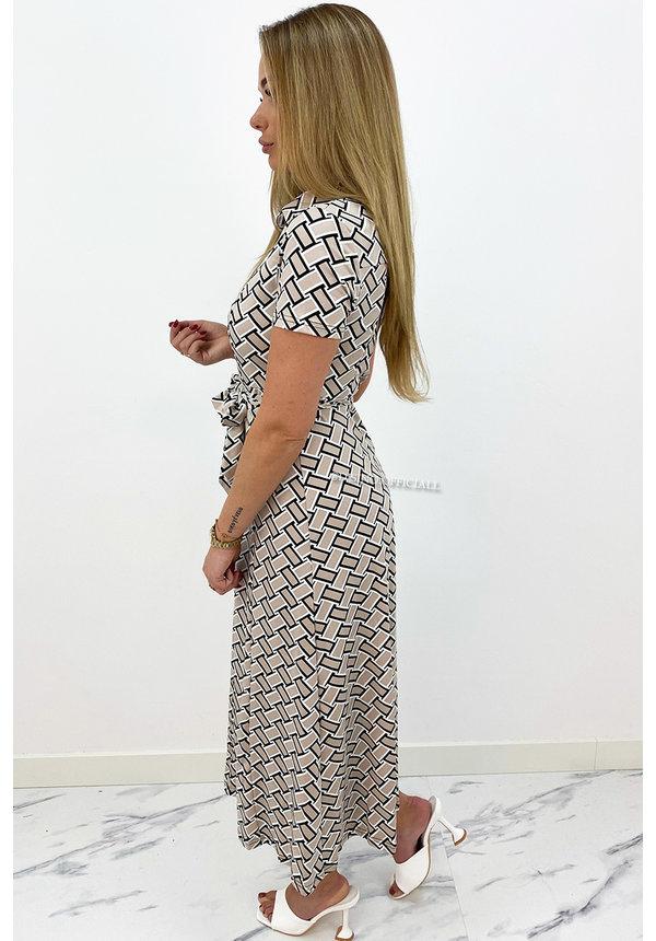 BEIGE - 'NOA DRESS' - PERFECT FIT MAXI BUTTON UP DRESS
