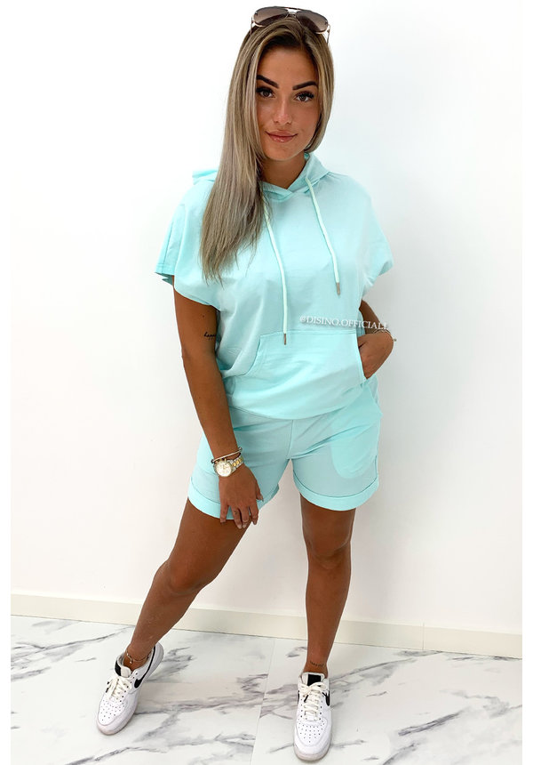TURQUOISE - 'BROOKE' - SPORTY SHORTY TWO PIECE SET