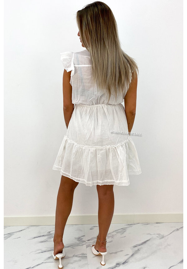 WHITE - 'NINA DRESS' - BRODERIE RUFFLE DRESS
