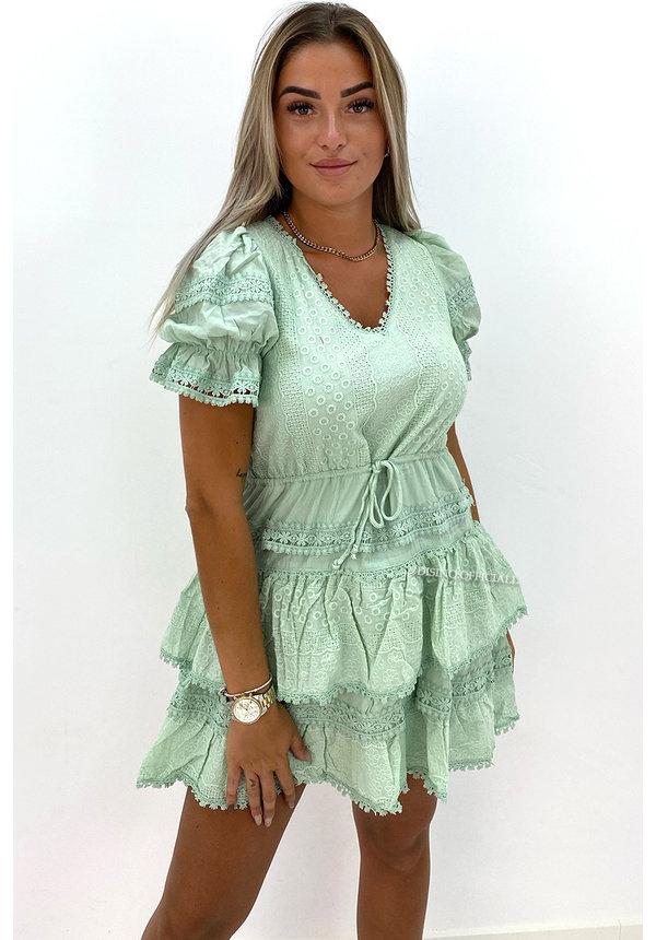 MINT GREEN - 'NORAH' - PREMIUM QUALITY BRODERIE RUFFLE DRESS
