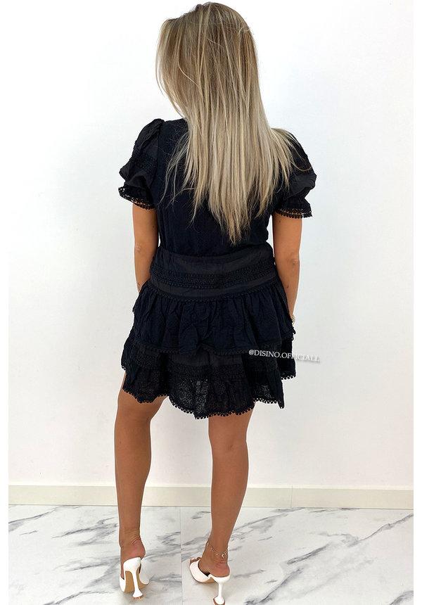 BLACK - 'NORAH' - PREMIUM QUALITY BRODERIE RUFFLE DRESS