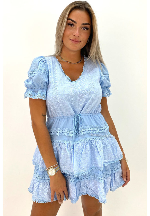 LIGHT BLUE - 'NORAH' - PREMIUM QUALITY BRODERIE RUFFLE DRESS