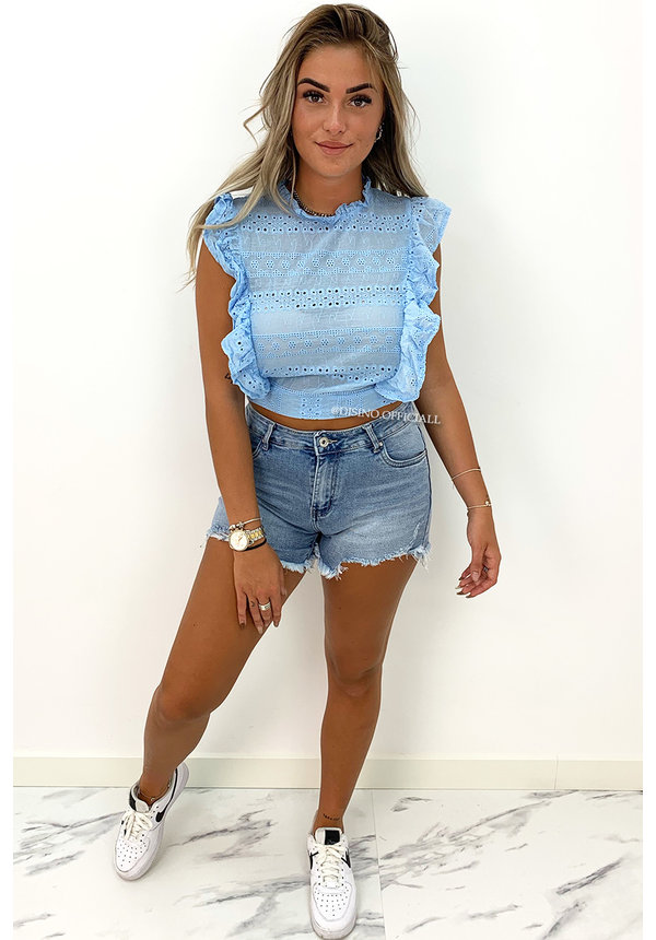 LIGHT BLUE - 'ISA' - BRODERIE CROPPED RUFFLE TOP