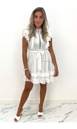 WHITE - 'LISANN' - SUMMER RUFFLE DRESS