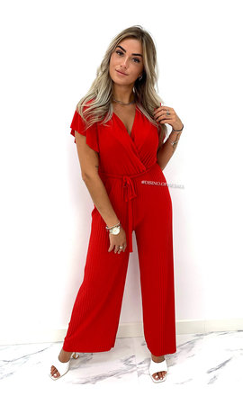 RED - 'NORA' - SOFT TOUCH PLISSE JUMPSUIT