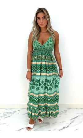 GREEN - 'AVERY' - SPAGHETTI AZTEC PRINT MAXI DRESS