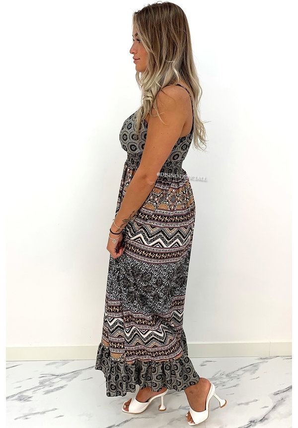 BLACK - 'AVERY' - SPAGHETTI AZTEC PRINT MAXI DRESS